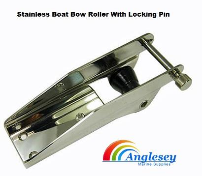 boat bow roller with locking pin