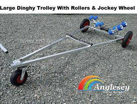 dinghy launching trolley large with jockey wheel