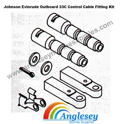 johnson evinrude outboard engine 33c control cable fitting kit