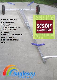 large dinghy launch launching trolley boat dolly