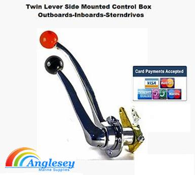 outboard engine control box twin lever stainless steel