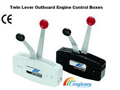 outboard engine control box twin lever