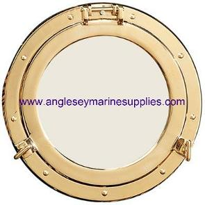 porthole mirror brass canal narrowboat cabin